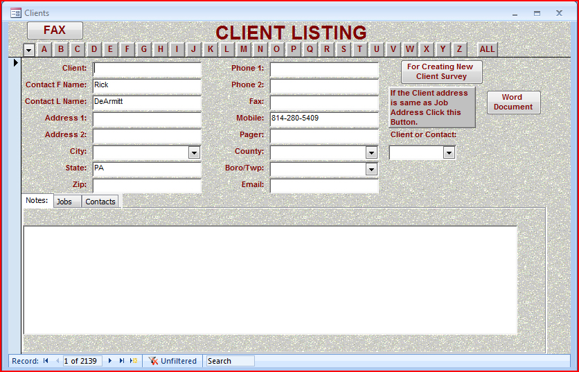 Time tracker client listing
